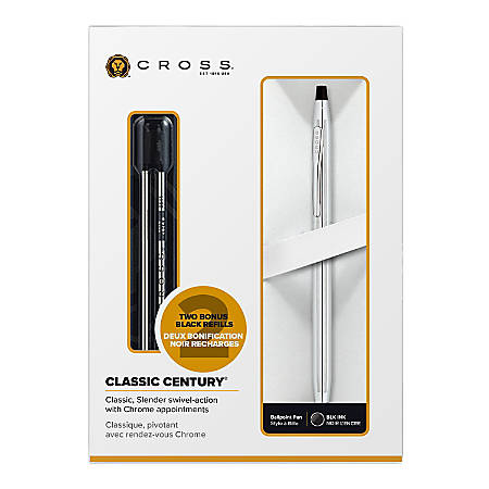 Cross® Century Ballpoint Pen, Medium Point, 1.0 mm, Chrome Barrel, Black Ink
