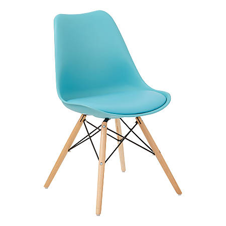 Ave Six Allen Guest Chair, Teal/Natural Wood