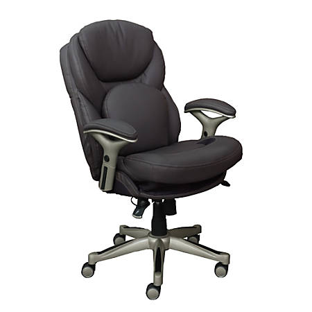 Serta Works Mid-Back Office Chair With Back In Motion Technology, Bonded Leather, Opportunity Gray/Silver