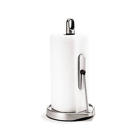 "simplehuman® Stainless Steel Tension Arm Paper Towel Holder, 14 3/10""H x 8 1/5""W x 7 2/5""D, Silver"