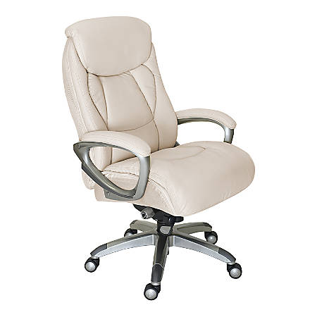 Serta Works Mesh/Bonded Leather High-Back Office Chair With Smart Layers Technology, Inspired Ivory/Silver