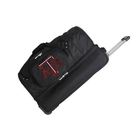Denco Sports Luggage Rolling Drop-Bottom Duffel Bag, Texas A&M Aggies, Black