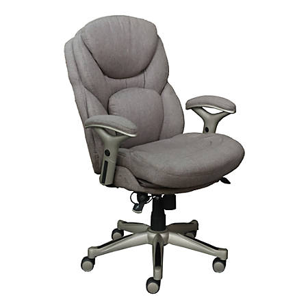 Serta Works Mid-Back Office Chair With Back In Motion Technology, Fabric, Light Gray/Silver