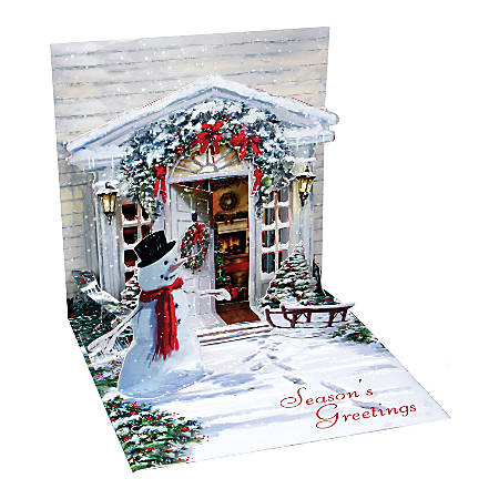 """Up With Paper Christmas Pop-Up Greeting Card With Envelope, Half Fold, 5 1/4"""" x 5 1/4"""", Holiday Door"""