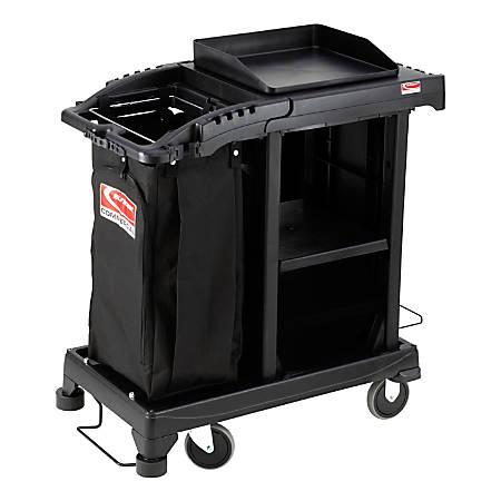 """Suncast Commercial® Plastic Cart, Sub-Compact Cleaning, 46-5/8""""H x 23-1/4""""W x 43-7/16""""D, Black"""