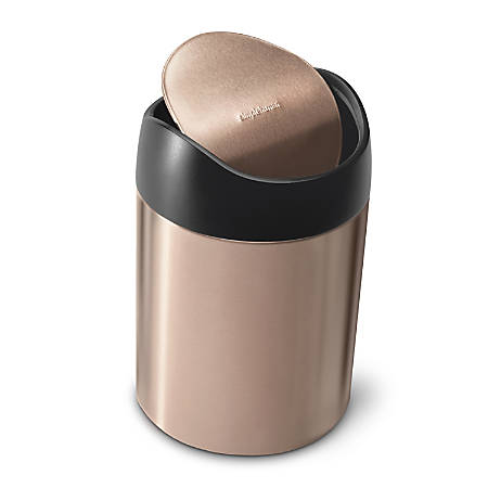 simplehuman Countertop Stainless Steel Trash Can, Fingerprint Proof, 0.4 Gallons, Rose Gold