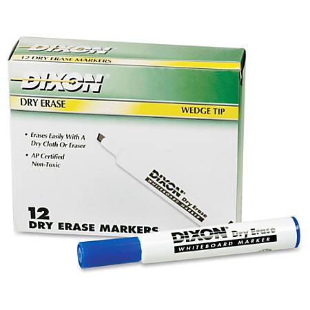 Ticonderoga Dry Erase Whiteboard Markers - Broad, Fine Marker Point - Wedge Marker Point Style - Blue - 12 / Dozen