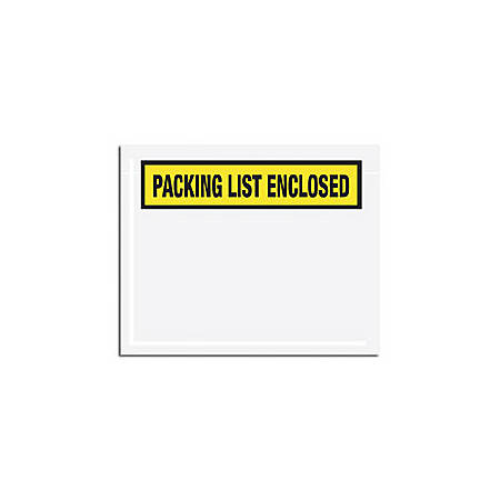 "Office Depot® Brand ""Packing List Enclosed"" Envelopes, Panel Face, Yellow, 5 1/2"" x 10"" Pack Of 1,000"