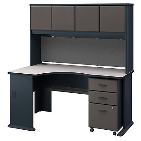 Bush Business Furniture Office Advantage Left Corner Desk With Hutch And Mobile File Cabinet, Slate/White Spectrum, Premium Installation