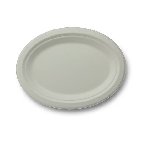 "Stalk Market Compostable Round Plates, 10-1/2"" Platters, White, Pack Of 500 Plates"