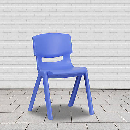 """Flash Furniture Plastic Stackable School Chair With 15-1/2"""" Seat Height, Blue"""