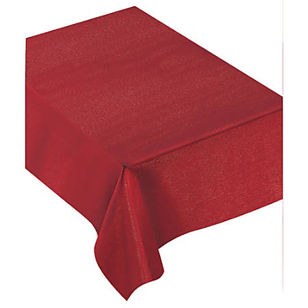 """Amscan Christmas Luxury Fabric Table Cover, 60"""" x 104"""", Red"""