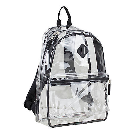 Eastsport Clear PVC Backpack, Black With Diamond Tab