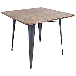 Lumisource Oregon Dining Table Square GrayWood
