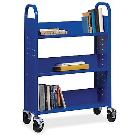 Lorell® Single-Sided Mobile Steel Book Cart, 3-Shelf, Blue