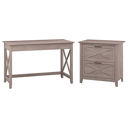 "Bush Furniture Key West 48""W Writing Desk With 2 Drawer Lateral File Cabinet, Washed Gray, Standard Delivery"