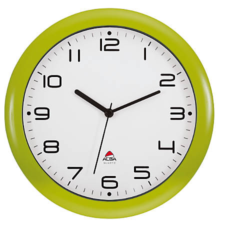 "Alba Silent Round Wall Clock, 12"" Diameter, Green"
