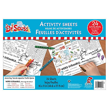 "Amscan Dr. Seuss Desk Activity Sheets, 11"" x 16"", White, 24 Sheets Per Pack, Set Of 3 Packs"
