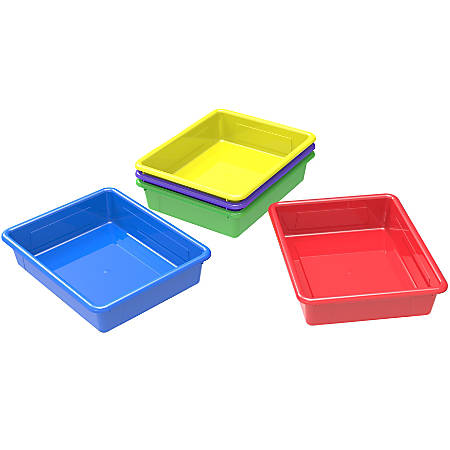 "Storex Flat Storage Trays, Letter Size, 10-1/2"" x 13"" x 3"", Assorted Colors, Pack Of 5 Trays"