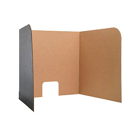 Flipside Products Computer Lab Privacy Screens, Small, Kraft/Black, Pack Of 12 Screens