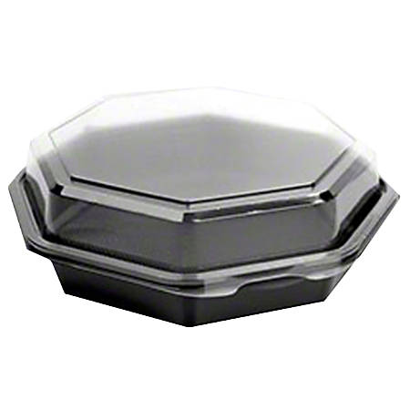 "To-Go Food Containers With Top-Hinged Lids, 4-1/2"", Black/Clear, Case Of 300 Containers"