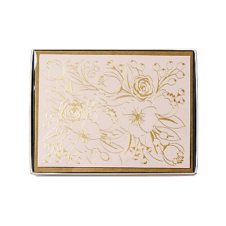 "Sincerely A Collection by C.R. Gibson® Side-Fold Boxed Notes, 3 3/4"" x 5"", Blush Floral, Pack Of 10"