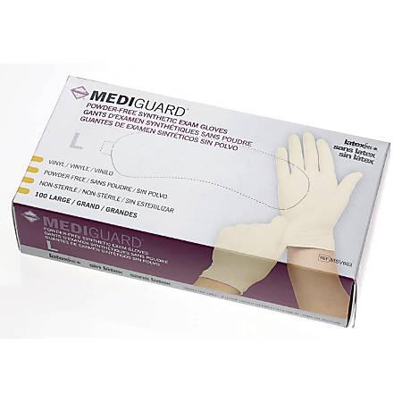 MediGuard® Powder-Free Stretch Vinyl Exam Gloves, Large, Beige, 100 Gloves Per Box, Case Of 10 Boxes