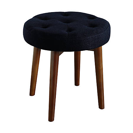 Elle Décor Penelope Round Tufted Stool, Rich Navy/Brown