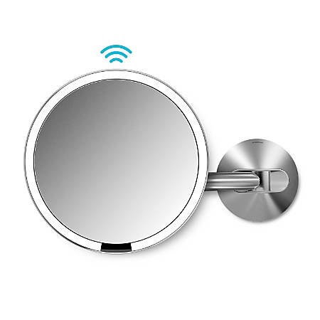 "simplehuman Sensor 5X Magnification Wall-Mount Makeup Mirror, Hard Wired, 8"", Stainless Steel"