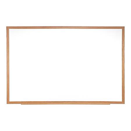 "Ghent Magnetic Whiteboard, Porcelain, 48-1/2"" x 96-1/2"", White, Natural Oak Wood Frame"