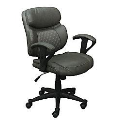 Serta Essentials Bonded Leather Mid Back Computer Chair Mindset Gray Black