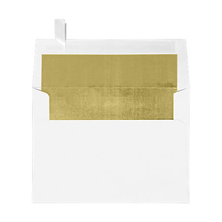 """LUX Invitation Envelopes With Peel & Press Closure, A7, 5 1/4"""" x 7 1/4"""", Gold/White, Pack Of 250"""