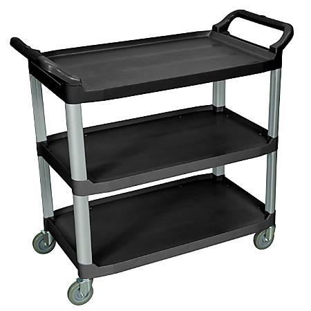 """Luxor 3-Shelf Serving Cart, 37 1/4""""H x 40 1/2""""W x 19 3/4""""D, Black"""