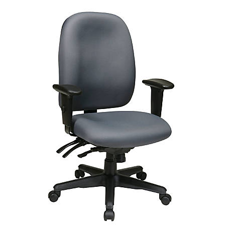 "Office Star® Work Smart Ergonomic Multifunction High-Back Chair, 38 1/4""H x 25""W x 25 1/5""D, Gray/Black"