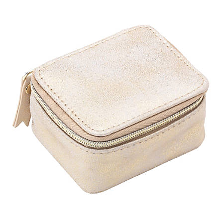 "Office Depot® Brand Leatherette Zippered Pill Box Case, 1-7/8""H x 3-1/2""W x 2-7/8""D, Gold"