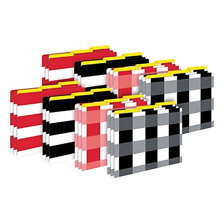 Barker Creek Tab File Folders, Letter Size, Buffalo Plaid/Wide Stripes, Pack Of 24 Folders