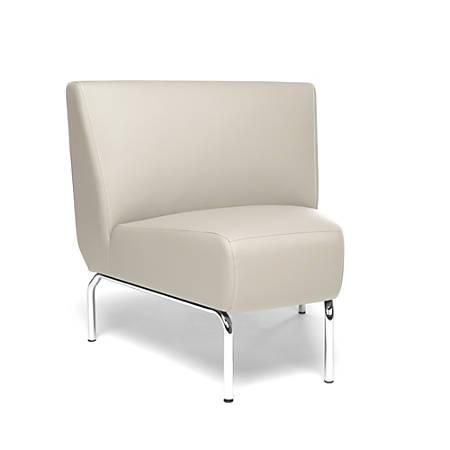 OFM Triumph Series Armless 45° Lounge Chair, Cream/Chrome
