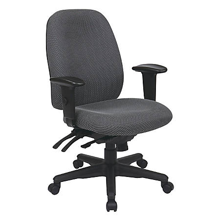 "Office Star™ Work Smart Ergonomic Multifunction High-Back Chair, 38-1/4""H, Charcoal/Black"