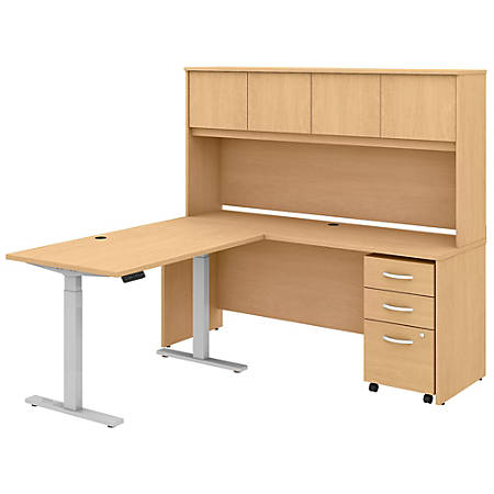 """Bush Business Furniture Studio C 72""""W x 24""""D L-Shaped Desk With Hutch, 48""""W Height-Adjustable Return And Storage, Natural Maple, Standard Delivery"""