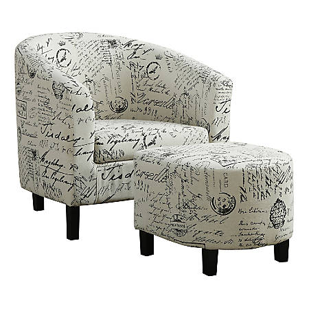 Monarch Specialties Abba Accent Chair With Ottoman, Vintage French
