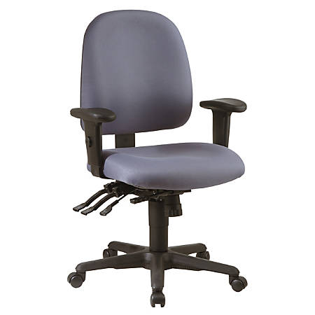 "Office Star® Work Smart Ergonomic Multifunction Mid-Back Chair, 41 1/2""H x 25""W x 25 1/2""D, Gray/Black"