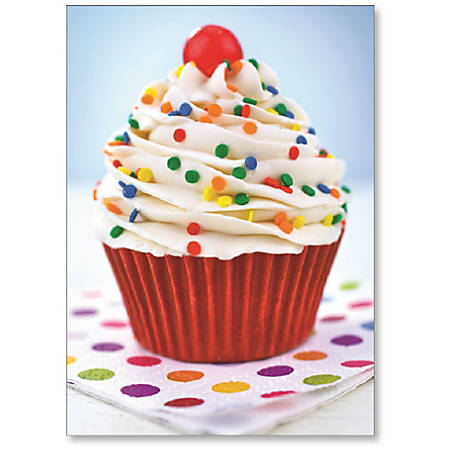 """Viabella Birthday Greeting Card With Envelope, Frosting Cupcake, 5"""" x 7"""""""