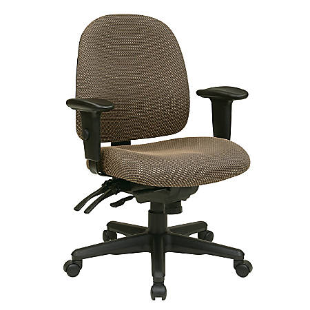 "Office Star® Work Smart Ergonomic Multifunction Mid-Back Chair, 41 1/2""H x 25""W x 25 1/2""D, Taupe/Black"