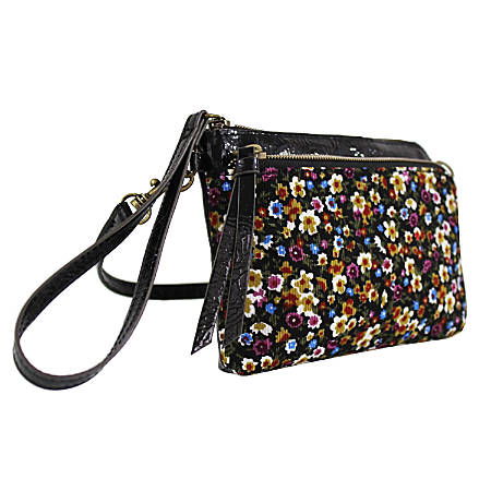 Office Depot® Brand Cece Xbody Faux-Leather Mini Wristlet, Floral Cord