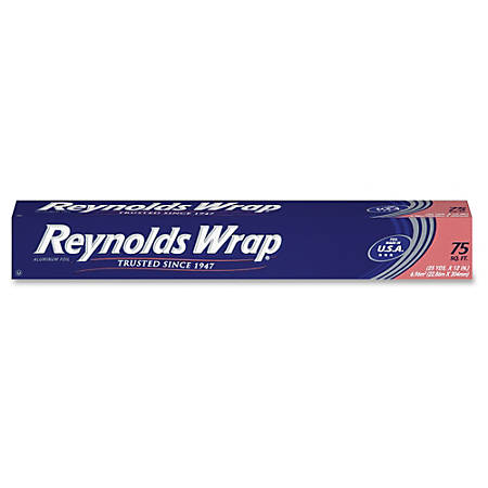 """Reynolds Wrap Standard Aluminum Foil - 12"""" Width x 75 ft Length - Moisture Proof, Odorless, Grease Proof, Durable, Heat Resistant, Cold Resistant, Molded - Aluminum - Silver"""