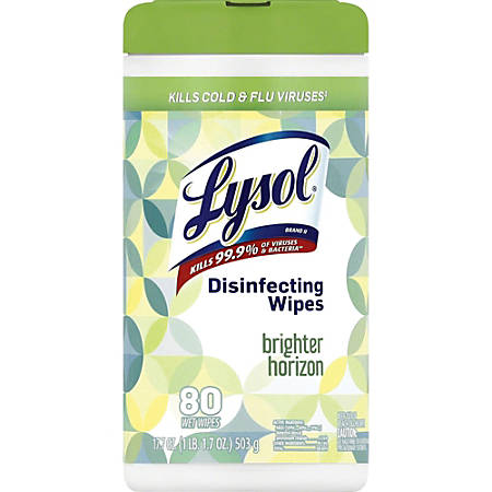 Lysol Designer Tub Disinfecting Wipes - Wipe - Bright Horizon Scent - 80 / Tub - 80 / Each - White
