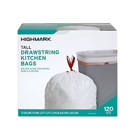 Highmark™ 0.9-mil Drawstring Trash Bags, 13 Gallons, White, Box Of 120