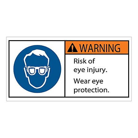 """Tape Logic Durable Rectangle Safety Labels, DSL518, 2"""" x 4"""", Risk of Eye Injury, Roll Of 25 Labels"""
