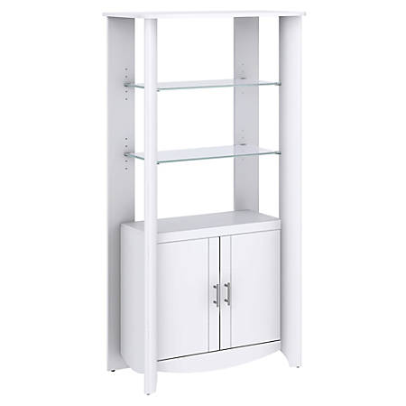 Bush Furniture Aero Tall Library Storage Cabinet with Doors, Pure White, Standard Delivery