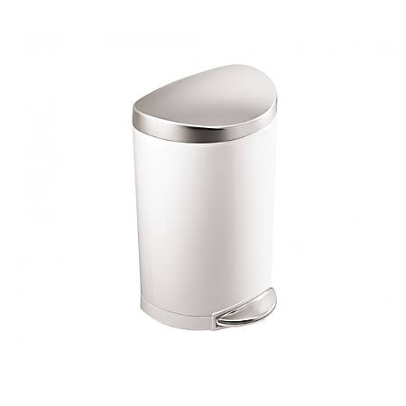 simplehuman Semi-Round Steel Step Trash Can, 2.64 Gallons, White With Stainless Steel Lid